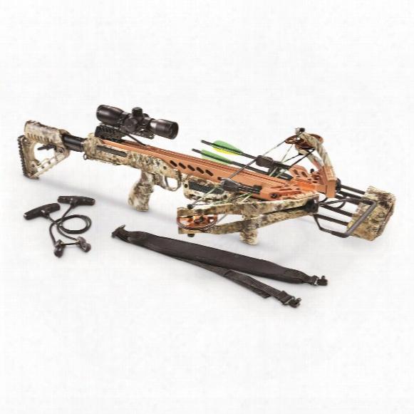Sa Sports Empire Aggressor 390 Crossbow Kit, 185-lb. Draw Weight, 4x32mm Scope, Kryptek Camo