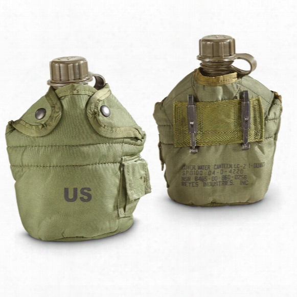 Us Military Issue Canteens With Covers, 2 Pack, 1 Quart