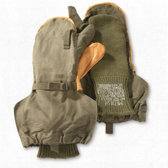 U.s. Military Surplus M1951 Trigger Mittens, With Wool Liners, New