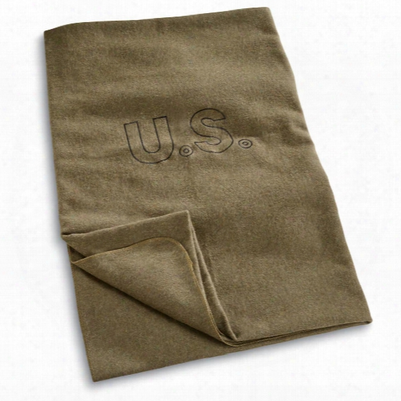 "U.s. Military Surplus Wool Officers Blanket, 64"" X 84"", New"