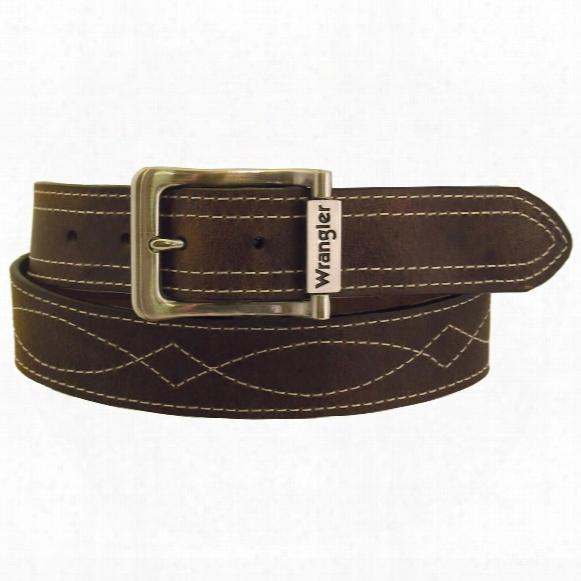 Wrangler Rugged Wear Men's Decorrative Leather Belt, Tan