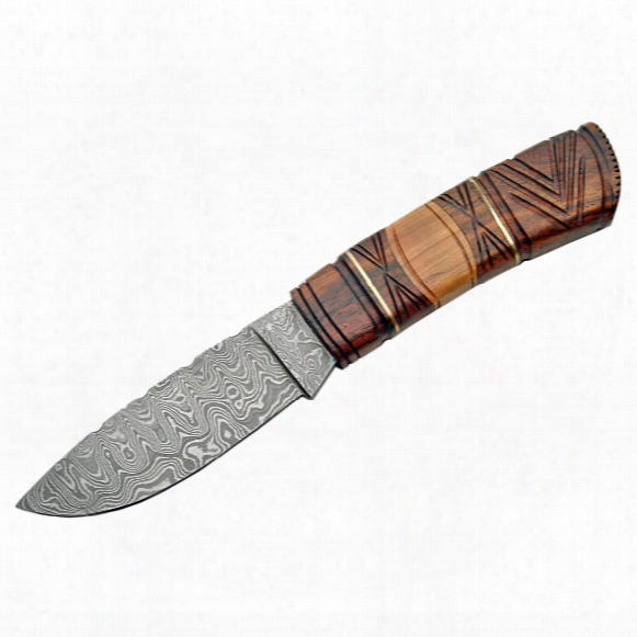 "Damascus Carved Rosewood/olivewood Handle Fixed Blade Knife, 4.25"" Blade"