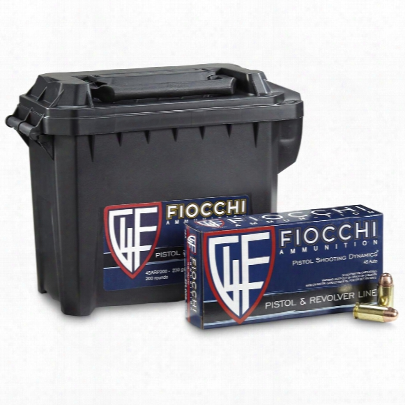 Fiocchi, .45 Acp, Fmj, 230 Grain, 200 Rounds With Can