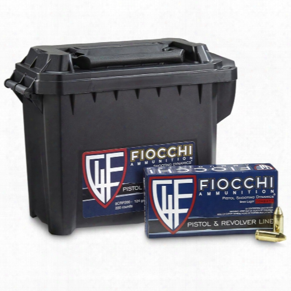 Fiocchi Shooting Dynamics, 9mm Luger, Fmjtc, 124 Grain, 200 Rounds With Can