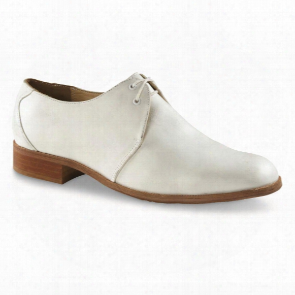 German Military Surplus White Leather Dress Shoes, Used