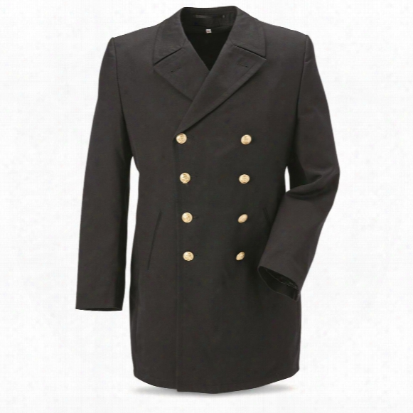 German Navy Surplus Wool Blend Coat With Liner, New