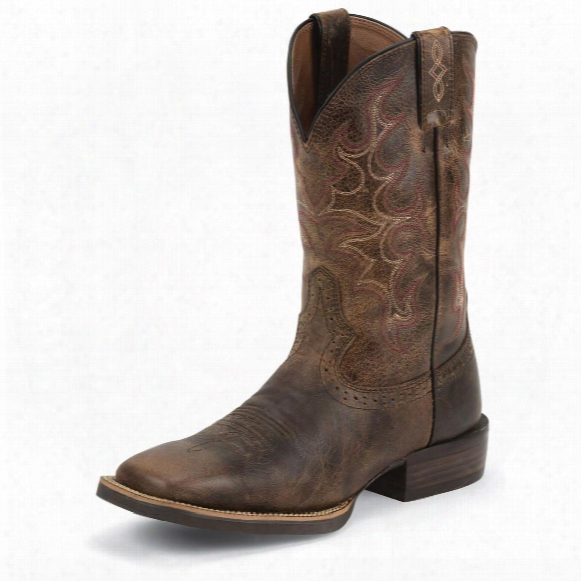 Justin Men's Brown Silver Collection Boots With Accents