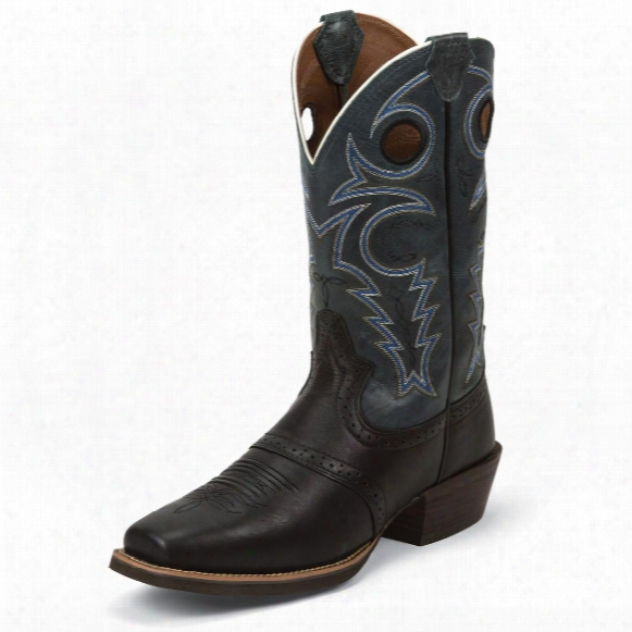 Justin Men's Black Silver Collection Cowboy Boots
