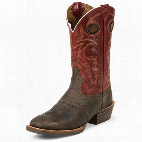 Justin Men's Chocolate Buffalo Silver Collection Cowboy Boots