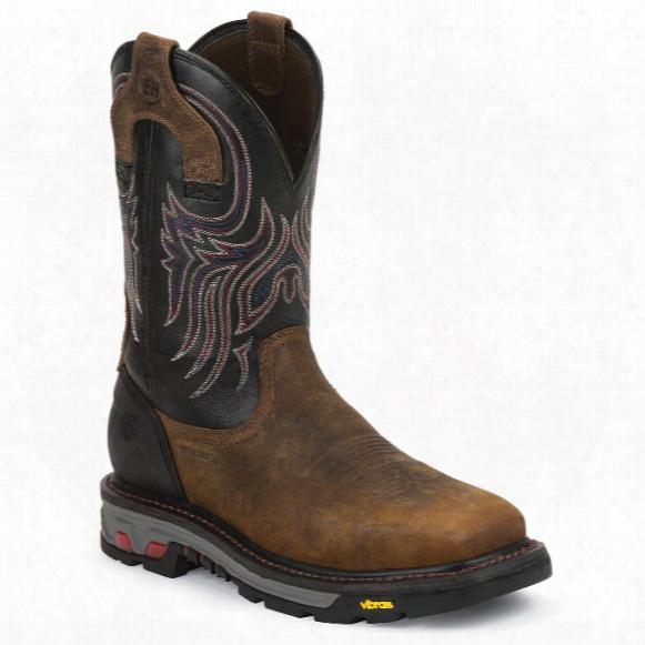 Justin Men's Reddish Waxy Milled Buffalo Steel Toe Commander-x5 Work Boots