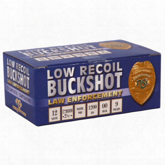 "Nobelsport Law Enforcement, 12 Gauge, 2 3/4"" Shells, 00 Buckshot, Low Recoil, 10 Rounds"