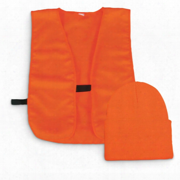 Outdoor Cap Co. Blaze Orange Vest And Knit Hat Combo
