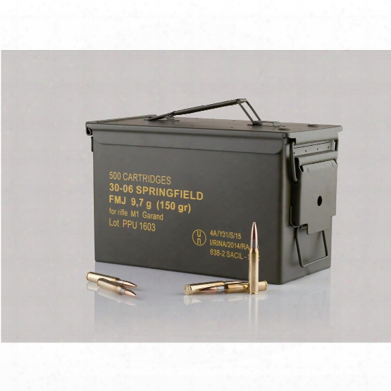 Ppu, .30-06 Springfied, Fmj, 150 Grain, 500 Rounds With Can