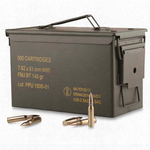 Ppu, 7.62x51mm, Fmjbt, 145 Grain, 500 Rounds With Can