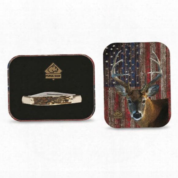 "Puma Sgb Patriot Deer 3-blade Folding Knife With Gift Tin, 2.4"" Blade"