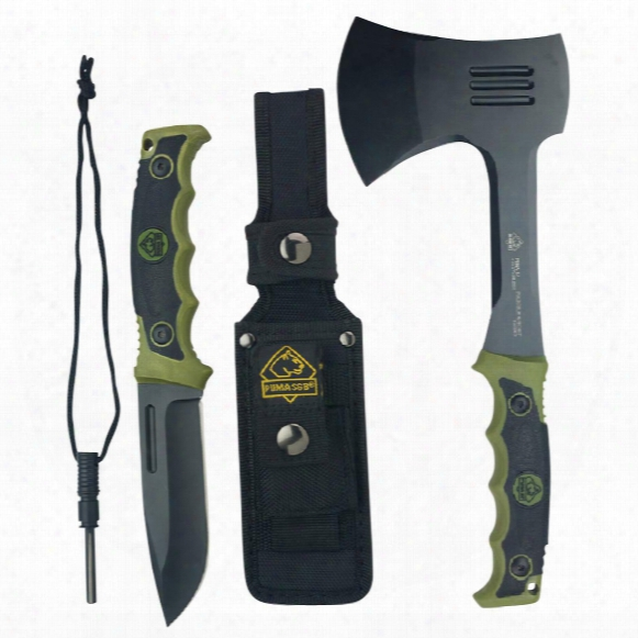 "Puma Xp Packable Hatchet And Forever Knife Set, 3.5"" And 4.76"" Blades"