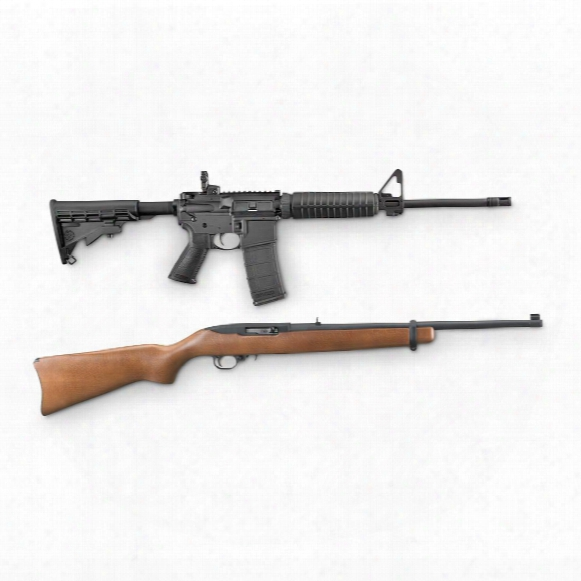Ruger Ar-556 Semi-automatic 5.56x45mm Ar-15 And Ruger 10/22 Carbine .22lr Rimfire Rifle Combo, 30