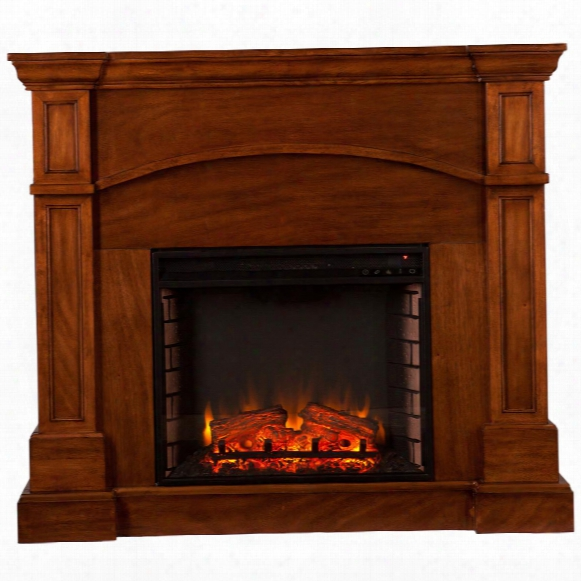 Southern Enterprises Lantana Electric Fireplace, Corner Convertible, Oak Saddle