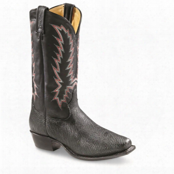 Tony Lama Men's Nubuck Shark Square Toe Cowboy Boots
