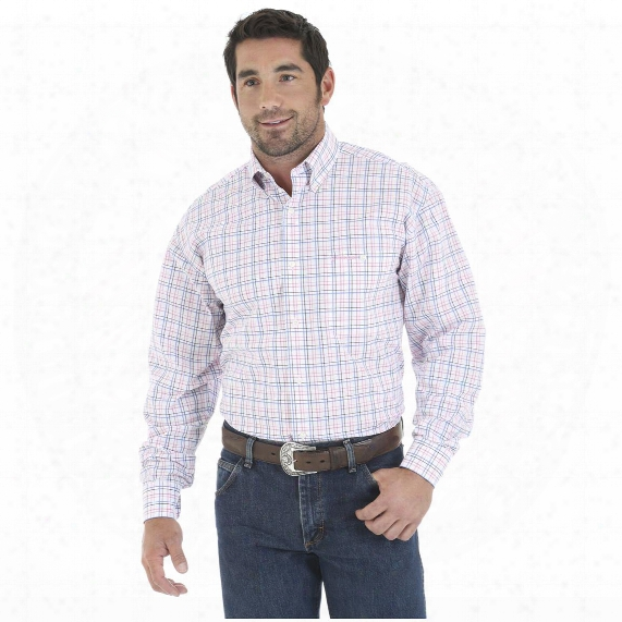 Wrangler Tough Enough To Wear Pink Men's Long Sleeve Poplin Plaid Shirt
