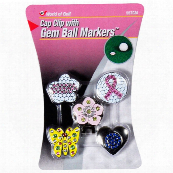 Jef World Of Golf Cap Clip With Gem Ball Markers