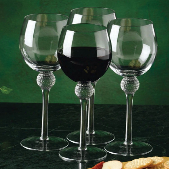 Clubhouse Collection Golf Ball Dimpled Wine Glass Set