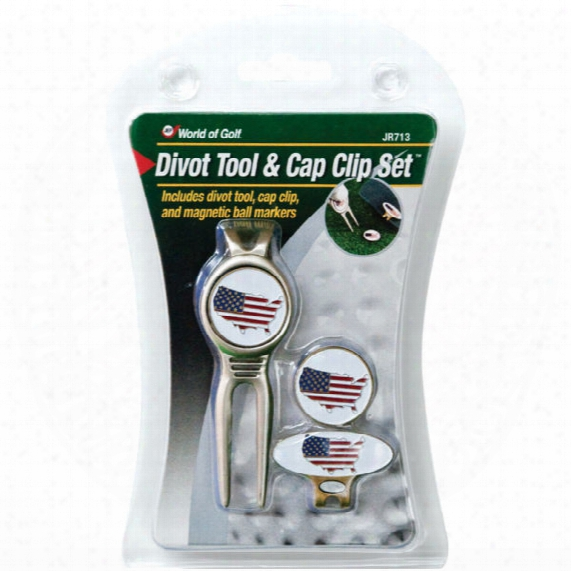 Jef World Of Golf Usa Flag Divot Tool & Cap Clip Ball Marker Set