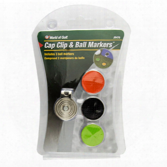 Jjef World Of Golf Cap Clip With 3 Magnetic Ball Markers
