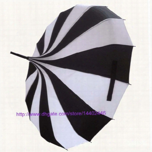 (10 Pcs/lot) Creative Design Black And White Striped Golf Umbrella Long-handled Straight Pagoda Umbrella Free Ship