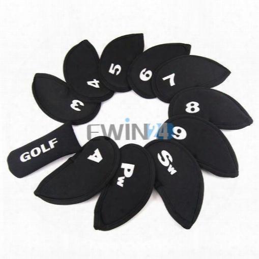 11pcs/set Golf Iron Club Set Covers Case Putter Head Neoprene Pockets Sport Headcovers Protect Set
