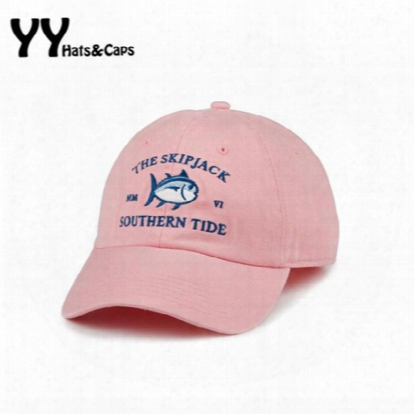 2016 New Mmvi Southern Tide Fish Embroidery Baseball Cap Bone Snapback Women Men Summer Adjustable Track Golf Sun Hat Casquette