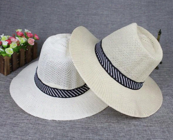 2016 New Panama Straw Hats Fedora Soft Vogue Men Women Stingy Brim Caps 6 Colors Choose 24pcs/lot Zds