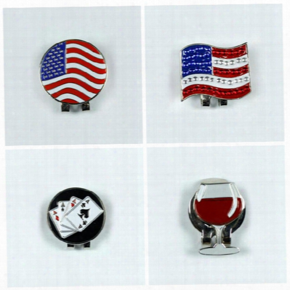 2016 New Us Flag Outdoor Alloy Golf Alignment Aiming Tool Ball Marker Magnetic Hat Clip Golf Accessories