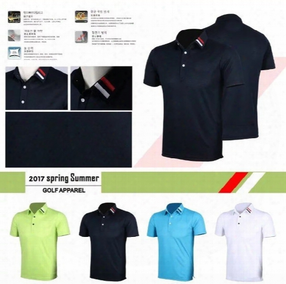 2017 New Golf T Shirts Spring Summer Sports Clothing Short Sleeve Dry Fast Breathable