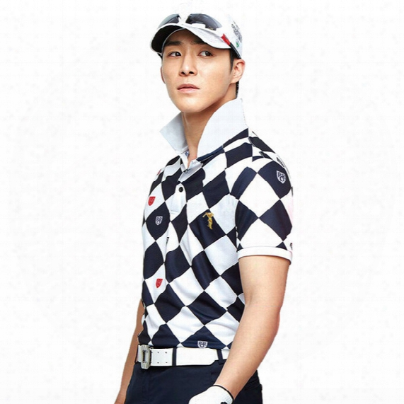 2017 New Outdoor Golf Wear Men's Summer Short Sleeved Golf T-shirt Light Breathable Quick Dry Men's White And Blue Plaid Golf Polo Shirt