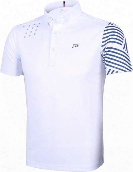 2017 Spring Men's Golf Polo Shirts Breathable Mens Short Sleeves Golf T-shirts Stars Golf Shirt