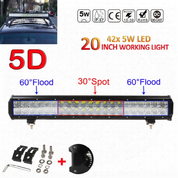 20inch 210w 21000lm 5d Lens Led Light Bar Flood Spot Combo Work Lamp Suv Atv 4wd Clt_41p
