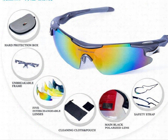 5 Lens Polarized Cycling Glasses Uv400 Bike Glasses Goggles Top Quality 4 Colors Sport Eyewear Outdoor Sunglasses