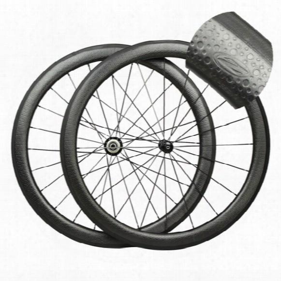 700c Road Bike Zip 404 Golf Surface Carbon Rims Clincher Tubular 50mm Depth 25mm Width Dimple Surface Carbon Wheelset