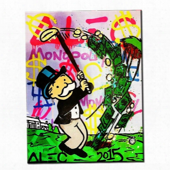 Alec Monopoly - Golf - Urban Art Handcraft Abstract Graffiti Art Oil Painting,home Wall Decor On High Quality Canvas Size Can Be Customized