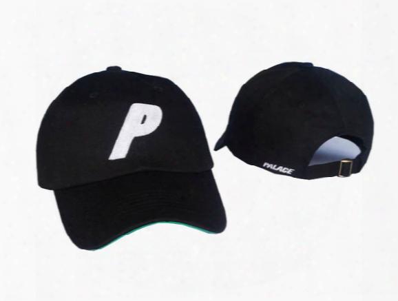 Black Strapback Palace P Logo Brand Peaked Golf Caps Bent Brim Men Women Casquette Outdoor Hunting Hats Spring Sunshine Cricket Baseball Cap
