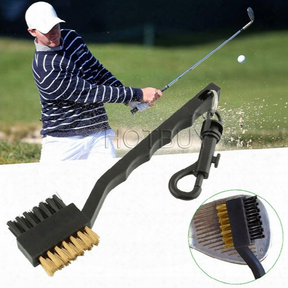 Dual Bristles Golf Club Brsuh Cleaner Ball 2 Way Cleaning Clip Lightweight Portable Golf Training Aids Practice Equipment #4162