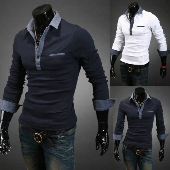 Fashion Autumn New Polo Shirt For Men Luxury Casual Slim Long Sleeve Jean Tees & Polos Fit Stylish T-shirts