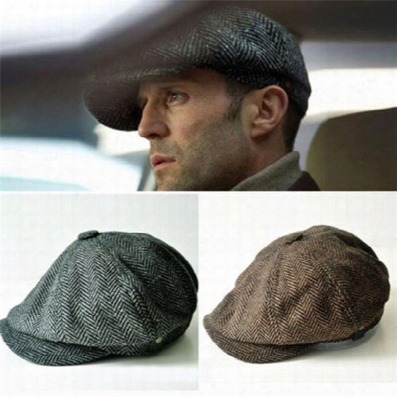 Fashion Octagonal Cap Cotton Cabbie Newsboy Gatsby Cap Mens Ivy Hat Golf Driving Summer Sun Flat Jason Statham Beckham Male Models
