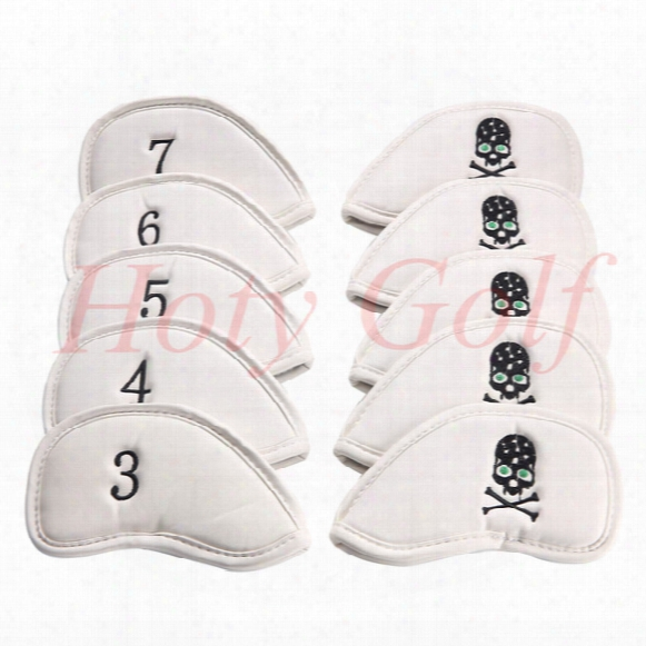 Free Shipping 10pcs/set New White Skull Pu Golf Club Iron Head Cover Headcovers