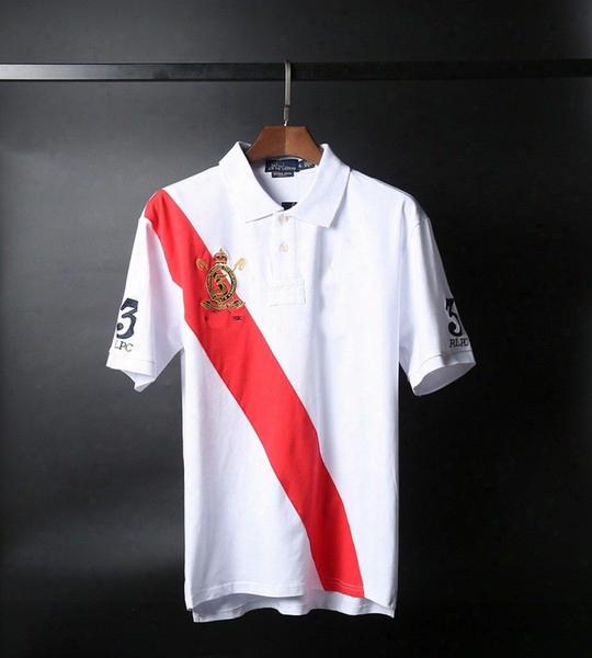 Free Shipping New Leisure Men's Polos Lapel Embroidered Leisure Shirt Cotton Men's Golf Tennis Shirt T-shirt Men's Short Sleeve T-shirt