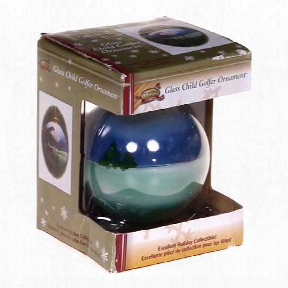 Glass Child Golfer Ornament