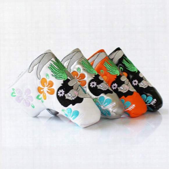 Golf Putter Headcover With Mermaid Flower Putter Cover Blade Style White Black Sliver Pu Leather 4 Colors