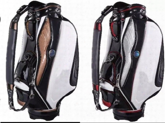 Golf Staff Bag 2015 New Style Ti Pu Black/white Golf Cart Bags 9&quo T; In 5 Dividers