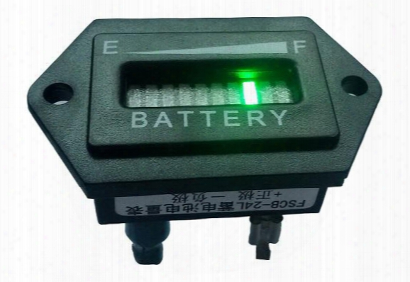 Hexagon 10 Bar Led Digital Battery Gauge Charge Indicator With Voltage Indication For Golf Cart, Motorcycle, Sweeper.12v 24v 36v 48v 60v